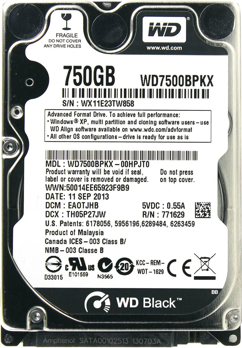 WD Scorpio Black 750GB внутренний жесткий диск (WD7500BPKX)WD7500BPKXWD Scorpio Black - внутренний жесткий диск для ноутбуков.Специальные разработки, повышающие быстродействие, обеспечивают скорость, которая вам нужна для таких требовательных задач, как редактирование фото и видео или сетевые игры. Благодаря высокому быстродействию, большой емкости, высокой надежности и применению самых современных технологий модель WD Black — оптимальный выбор для тех, кто требует только самого лучшего. Жесткие диски WD Black имеют скорость вращения 7200 об/мин, 16 МБ кэш-памяти и интерфейс SATA со скоростью передачи данных 6 Гб/с, что позволяет им демонстрировать максимальную скорость работы в сложных задачах для ноутбуков.Технология парковки головок NoTouchЗаписывающая головка ни при каких обстоятельствах не соприкасается с поверхностью диска, что способствует значительному уменьшению износа головок и дисков, а также более надежной защите накопителей в процессе их перевозки. Разработанный компанией WD алгоритм динамического кэширования повышает быстродействие в реальном времени, оптимизируя распределение кэш-памяти между операциями чтения и записи. Например, если объем считываемых данных становится гораздо больше, чем записываемых, то накопитель автоматически выделяет больше кэш-памяти для операций чтения, что уменьшает задержки и повышает быстродействие накопителя в целом.Поскольку в моделях WD Black используется два процессора и больший объем более быстрой динамической кэш-памяти, эти накопители демонстрируют максимальные показатели скорости чтения и записи. Расширенные функции поддержания надежности помогают защитить как сам накопитель, так и хранящиеся на нём данные.Буфер HDD: 16 МбМаксимальные перегрузки: 350G длительностью 2 мс при чтении, 1000G длительностью 2 мс в выключенном состоянии