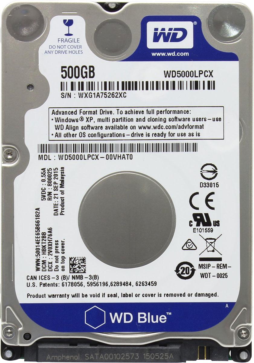 WD Blue 500GB внутренний жесткий диск (WD5000LPCX)WD5000LPCXНакопители WD Blue, соответствующие самым высоким требованиям WD в части качества и надежности, обладают вполне достаточной функциональностью и емкостью для решения повседневных задач в системах начального уровня.Поскольку накопители WD Blue дают вам широкий выбор вариантов емкости, объемов кэш-памяти, типоразмеров и интерфейсов, вы можете быть уверены в том, что обязательно найдется накопитель, превосходно подходящий для вашей системы начального уровня. Впрочем, не все жесткие диски созданы равными, и если какие-то из ваших систем требуют большего, то WD дает вам свободу выбора. Сверхтонкий жесткий диск WD Blue весит на 36% легче обычных накопителей для мобильных устройств. Созданная нами новая плата электроники также помогает уменьшить массу накопителя на 47% общего объема, при этом соблюдая все требования мобильности.В конструкции наших сверхтонких накопителей WD Blue нет компромиссов. В них используются более прочные алюминиевые материалы и мотор с фиксированным валом, что позволяет на 30% увеличить прочность на сжатие. Благодаря этим конструктивным усовершенствованиям нам удалось повысить прочность накопителей, не ухудшая их характеристик и не увеличивая энергопотребления.Накопители WD Blue проверены и рекомендованы к использованию в ноутбуках, внешних накопителях и некоторых промышленных системах.