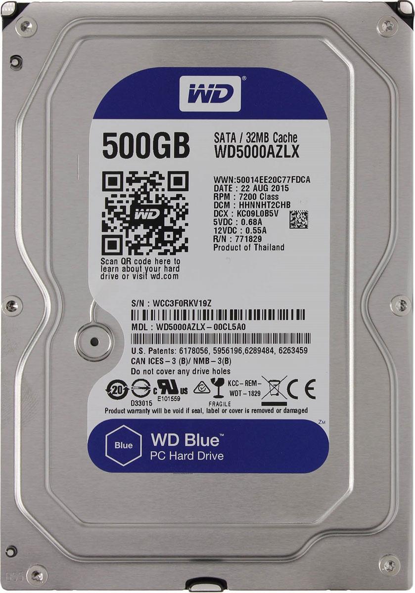 WD Blue 500GB внутренний жесткий диск (WD5000AZLX)WD5000AZLXНакопители WD Blue предназначены для настольных ПК.Увеличьте емкость ПК с помощью накопителей WD Blue, разработанных специально для настольных и моноблочных ПК. Линейка накопителей WD Blue позволяет увеличить объем хранения данных до 6 ТБ. Накопители WD поставляются с бесплатным доступом к программе WD Acronis True Image. Функции резервного копирования и восстановления позволяют легко сохранять и извлекать личные данные без переустановки системы.Каждый накопитель WD Blue проектируется, тестируется и производится на совесть. Кроме того, на все накопители этой линейки предоставляется двухгодичная гарантия.Технология парковки головок NoTouchБезопасное расположение записывающей головки относительно поверхности накопителя для защиты данных.Данная модель также оснащена функцией IntelliSeek. Она вычисляет оптимальное время поиска, что помогает уменьшить уровень энергопотребления, шума и вибрации.Буфер HDD: 32 МбМаксимальные перегрузки: 30G длительностью 2 мс при записи, 65G длительностью 2 мс при чтении; 350G длительностью 2 мс в выключенном состоянии