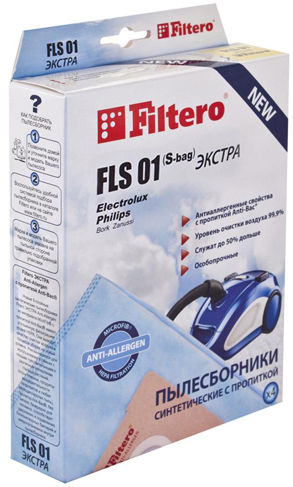 Filtero FLS 01 (S-bag) Экстра пылесборник (4 шт)FLS 01 (S-bag) (4) ЭкстраМешки-пылесборники Filtero FLS 01 (S-bag) Экстра Anti-Allergen произведены из синтетического микроволокна MicroFib с антибактериальной пропиткой Anti-Bac. Очень прочные, они не боятся острых предметов и влаги, собирают больше пыли (до 50%) и обеспечивают уровень очистки воздуха 99,9%, а также задерживают бактерии и препятствуют их распространению. При этом мощность всасывания пылесоса сохраняется в течение всего периода службы пылесборника.Антибактериальная пропитка Anti-Bac защищает от аллергенов и угнетает размножение бактерий в мешке. Рекомендуются для семей с детьми, людей, страдающих аллергией и заболеваниями дыхательных путей.Electrolux:EEQ 20 X Equipt, EEQ 30 X EquiptES All Floor, ES Animal, ES Classic, ES Origin, ES ParkettoJM Animal JetMaxx, JM OriginUO All Floor, UO Deluxe, UO Origin DB, UO PowerUS All Floor, US Deluxe, US Energy, US Origin DBXXL 95 Ergospace, XXL 110, XXL 125, XXL 130, XXL 150, XXL 170XXL TT 11 Ergospace TwintechXXL TT 12 Ergospace TwintechXXL TT 14 Ergospace TwintechZ 1900 - Z 2095 Clario Z 3300 Special EditionZ 3300 - Z 3395 Ultra Silencer (например: Z 3353 Ultra Silencer) Z 4500 - Z 4595 Bolido Z 5000 - Z 5095 Smartvac Z 5200 - Z 5295 Excellio (например: Z 5225 Excellio)Z 5500 - Z 5695 Oxygen Z 5900 - Z 5995 Oxygen Z 6200 - Z 6201 Mondo Plus Z 7320- Z 7350 Oxygen Z 7510 - Z 7549 ClarioZ 8800 - Z 8870 Ultra One (например: ZG 8800 Ultra One Green)ZAM 6100 - ZAM 6299 Air MaxZAP Origin WZCS 2000 - ZCS 2590 Classic SilenceZE 300 - ZE 390 Ergospace (например: ZEG 301 New Ergospace Green)ZE 2200 - ZE 2295 Ergospace ZEO 5410 - ZEO 5490 EssensioZJM 6800 - ZJM 6890 Jet Maxx (например: ZJM 68 FD 1 Jet Maxx)ZJMG 6800 Jet Maxx GreenZO 6300 - ZO 6399 Oxy3system ZP 3510 - ZP 3525 Clario 2ZP 4000 - ZP 4020 ErgoclassicZPF 2200 - ZPF 2230 Power Force (например: ZPF 2220 Power Force)ZSP Classic Silent PerformerZSP Parkett Silent PerformerZSP Reach Silent PerformerZSP AllFloor Silent