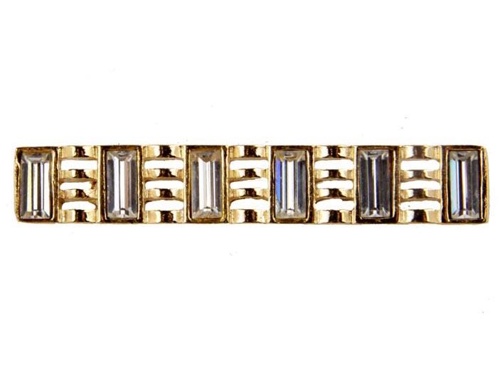 Брошь Валенсия №7. Бижутерный сплав, австрийские кристаллы. Франция конец ХХ векаБрошь-булавкаБрошь Валенсия №7. Бижутерный сплав, австрийские кристаллы. Франция, конец ХХ века. Размер броши 5 х 1 см. Сохранность хорошая. Предмет не был в использовании. Оригинальная брошь изготовлена из бижутерного сплава золотого тона.Инкрустирована кристаллами прозрачного тона. Несомненно, эта брошь будет прекрасным дополнением вашей коллекции украшений.
