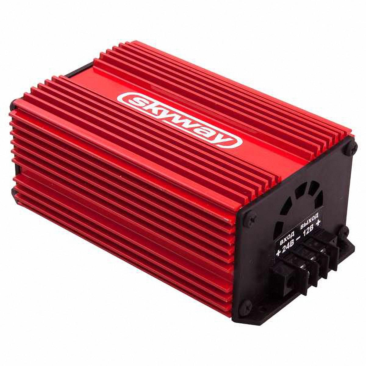 Преобразователь напряжения Skyway, 24/12V 40АS05501004Преобразователь напряжения 24/12V импульсный стабилизатор напряжения. Адаптер предназначен для преобразования нестабилизированного постоянного напряжения (22…30В) в постоянное стабилизированное напряжение 12В. Имеет встроенную защиту от короткого замыкания в нагрузке и перегрева. Адаптер может быть использован при работе с любыми видами нагрузок. Входное напряжение: 22…30ВВыходное напряжение: 13,6±0,5ВМакс. выходной ток: 40 АМакс. выходная мощность: 480 ВтКоэффициент полезного действия: не ниже 86%Напряжение пульсаций на выходе: 0,2 ВРабочая температура: -40…+70 °С