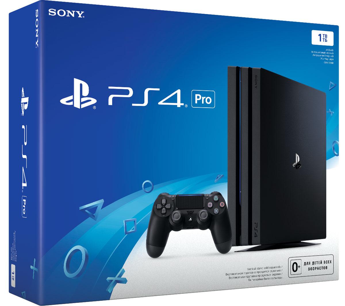 Игровая приставка Sony PlayStation 4 Pro (1 TB), Black (CUH-7008B)1CSC20002462Благодаря повышенной производительности центрального и графического процессоров, PS4 Pro позволяет добиться в играх графики со значительно большим числом деталей и беспрецедентной четкостью изображения. Пользователи с 4К телевизорами смогут насладиться всеми играми на PS4 в улучшенном качестве с разрешением 4К и более высокой и стабильной частотой кадров. Кроме того, PS4 Pro поддерживает воспроизведение 4К видео, что позволяет пользоваться 4К стриминговыми сервисами, в том числе Netflix и YouTube.Владельцы HDTV также смогут испытать новый игровой опыт от PS4 Pro, ведь система позволяет запускать все игры PS4 в разрешении 1080p, а также повысить частоту кадров и ее стабильность для некоторых поддерживаемых игр.Кроме того, заглядывая в будущее визуальных технологий, все системы PS4, включая PS4 Pro, будут поддерживать технологию HDR, что позволит воспроизводить светлые и темные сцены с помощью гораздо большего количества цветов. Пользователи, обладающие совместимыми с HDR телевизорами, также смогут насладиться поддерживаемыми играми и другим развлекательным контентом с более реалистичной, поразительно яркой картинкой, соответствующей тому, как видит человеческий глаз в реальном мире.Форма новой системы наследует скошенный дизайн корпуса от предыдущих моделей. Конструкция корпуса состоит из трех слоев блоков, символизирующих мощь PS4 Pro и надежность. Глянцевый логотип семейства PlayStation красуется по центру верхней панели. PS4 Pro также снабжена портом USB сзади, в дополнение к двум USB спереди, чтобы подключать дополнительные устройства, например, систему виртуальной реальности PlayStation VR.Все игры PS4, включая как уже доступные, так и те, что появятся в будущем, будут запускаться на всех PS4, в том числе и на PS4 Pro. Кроме того, все системы PS4 используют тот же пользовательский интерфейс и онлайн-сообщества для мультиплеерных игр и сетевых сервисов.Игра FIFA 17 теперь и в 4k разреше
