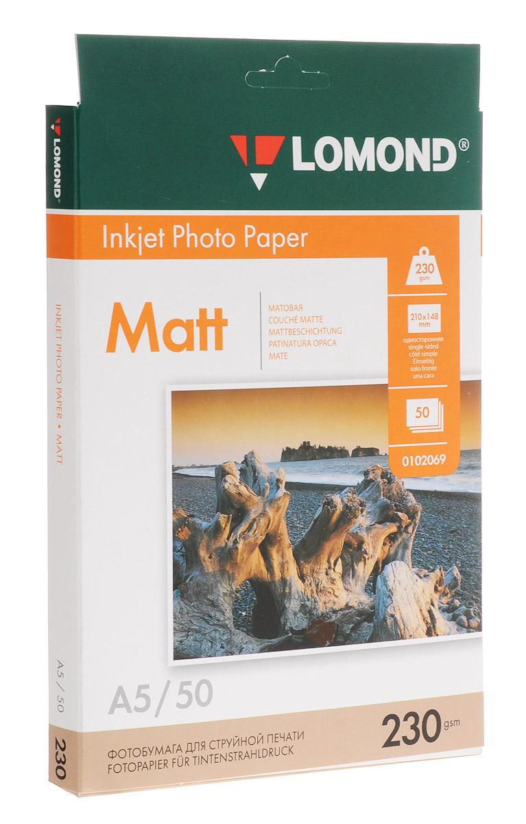 Lomond 230/A5/50л бумага матовая односторонняя0102069Фотобумага Lomond предназначена для печати на струйных принтерах с фотографическим качеством и высоким разрешением. Позволяет получать изображение с широким цветовым охватом, тонкой цветопередачей, яркими насыщенными цветами и детальной проработкой мелких фрагментов.