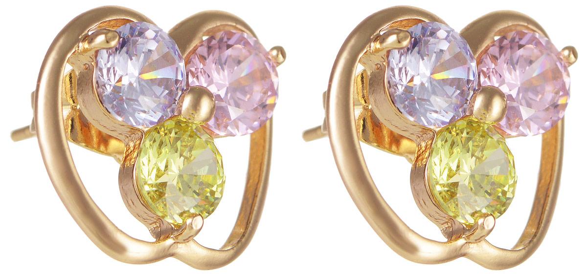 Серьги Taya, цвет: золотистый, голубой, розовый, зеленый. T-B-11696Серьги с подвескамиМодные позолоченные серьги-гвоздики Taya изготовлены из бижутерного сплава и оформлены цирконами. Изделие застегивается с помощью замка-гвоздика и металлической заглушки.Оригинальные серьги внесут изюминку, как в повседневный, так и в выходной образ и позволят выделиться среди окружающих.