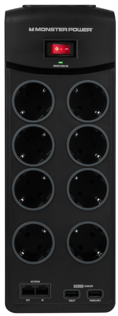 Monster Core Power 800 USB сетевой фильтр на 8 розеток121860-00Перепады напряжения могут иметь очень серьёзные последствия. В результате может быть повреждена или выведена из строя не только ваша домашняя электроника, но и нанесён вред вашему жилью. Обычный сетевой фильтр не может предотвратить пожар. Более того - он может стать его причиной. Решением становится сетевой фильтр Monster Core Power.Более безопасная защита питания:Вы хотите позаботиться о безопасности вашего оборудования? Обычная гроза может вызывать сильные скачки напряжения,способные нанести вред вашей электронике. Даже если ваш сетевой фильтр оснащен варисторами, прошедшими UL-сертифицировакацию, он всё ещё может загореться.Как это работает?Во время скачка напряжения избыток энергии поглощается металлооксидным варистором (MOV). Этот компонент поглощает избыточную энергию и выпускает её в виде тепла. Чрезмерное рассеивание энергии может привести к искрам и возгоранию.Monster предлагает более безопасную защиту питания с MOV-защитой от возгорания:Monster поместили варистор в специально разработанный керамический корпус, который не загорится во время скачка напряжения и защитит вас от пожара. Monster Core Power оснащён технологией против возгорания Monster FireProof MOV.Лучше звук и изображение?Электричество в вашем доме - способно так же передавать электромагнитные и радиочастотные помехи и шумы, которые могут серьёзно повлиять на качество изображения и звука вашей мультимедийной системы. Сетевой фильтр обладает технологией Monster Clean Power, благодаря которой ваше оборудование работает без проблем и с максимальным качеством.