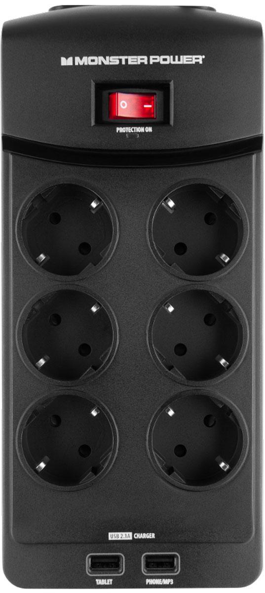 Monster Core Power 600 USB сетевой фильтр на 6 розеток сетевой фильтр power cube 6 socket 1 9m gray