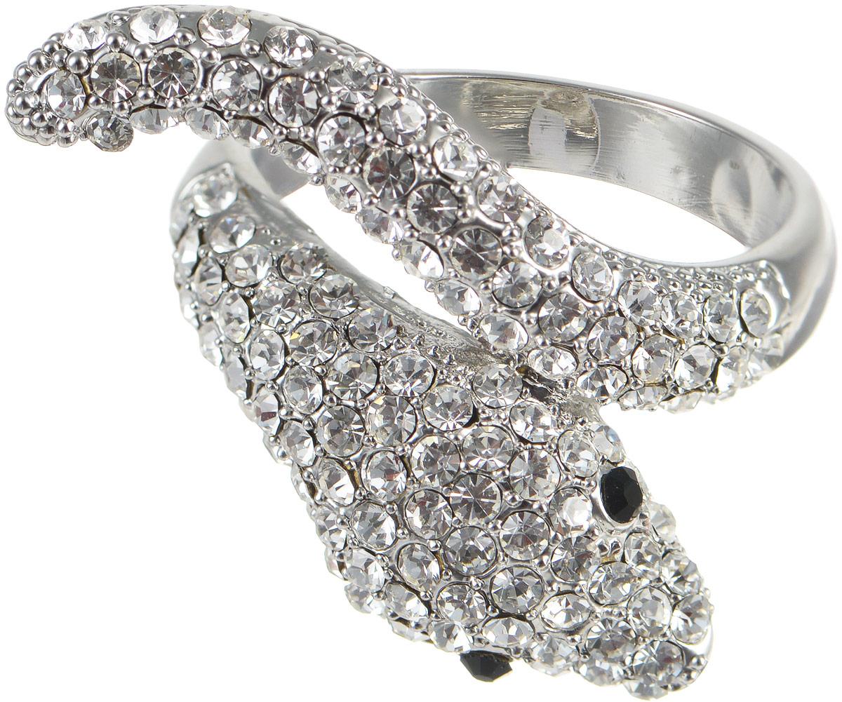 Кольцо Taya, цвет: серебристый. T-B-8103. Размер 19Коктейльное кольцоСтильное кольцо от Taya изготовлено из бижутерного сплава на основе латуни с гальваническим покрытием из родия. Декоративная часть кольца выполнена в виде оригинальной змеи, украшенной стразами, выполненными из цирконов. Такое модное кольцо идеально дополнит ваш образ и подчеркнет ваш изысканный вкус.