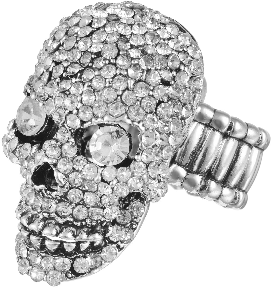 Кольцо женское Taya, цвет: серебристый. T-B-11620Коктейльное кольцоОригинальное безразмерное кольцо Taya выполнено из бижутерного сплава на основе латуни, оформлено в виде черепа и инкрустировано стразами. Нижняя челюсть подвижная, может открываться и закрываться. Регулируется кольцо с помощью эластичной резинки.Такое кольцо это блестящее завершение вашего неповторимого и смелого образа и отличный подарок для ценительницы необычных украшений!
