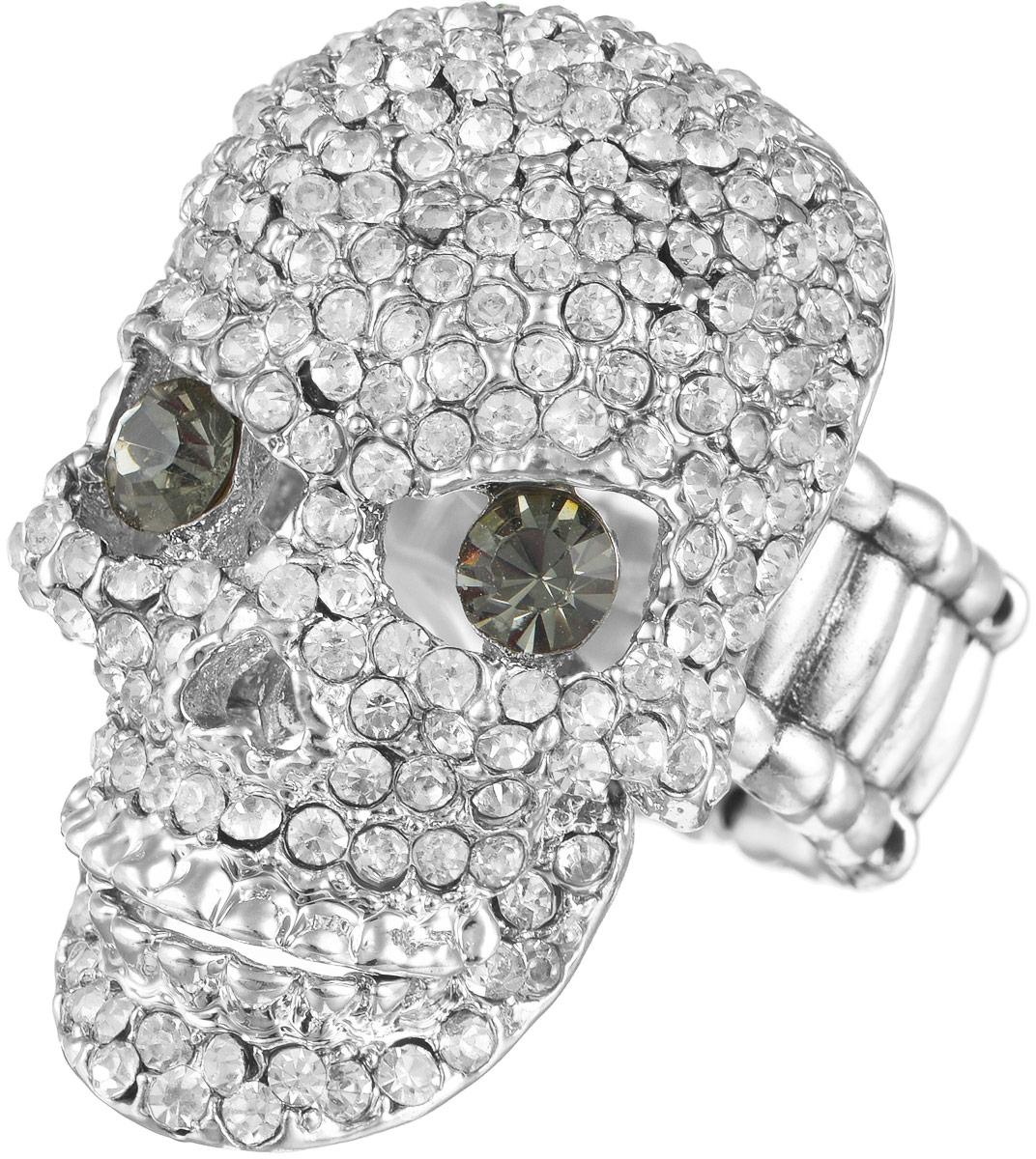 Кольцо женское Taya, цвет: серебристый, зеленый. T-B-9262Кольцо для платкаОригинальное безразмерное кольцо Taya выполнено из бижутерного сплава, оформлено в виде черепа и инкрустировано стразами. Нижняя челюсть подвижная, может открываться и закрываться. Регулируется кольцо с помощью эластичной резинки.Такое кольцо это блестящее завершение вашего неповторимого и смелого образа и отличный подарок для ценительницы необычных украшений!