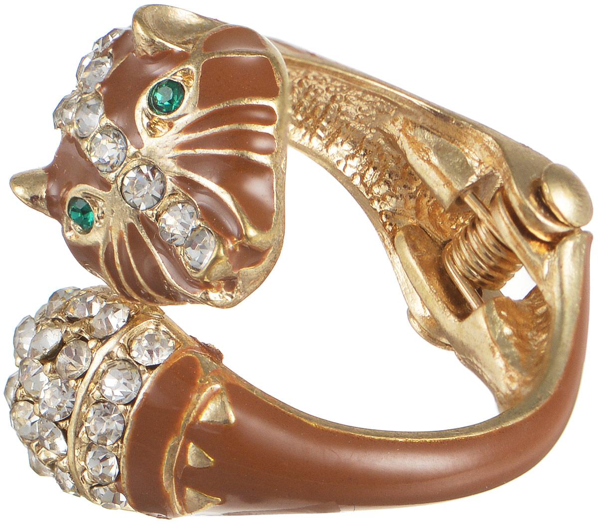Кольцо женское Taya, цвет: золотистый, коричневый. T-B-5877Коктейльное кольцоОригинальное безразмерное кольцо Taya выполнено из бижутерного сплава и оформлено в виде головы животного и дополнено стразами и эмалью. Модель регулируется при помощи пружинного механизма. Такое кольцо это блестящее завершение вашего неповторимого и смелого образа и отличный подарок для ценительницы необычных украшений!