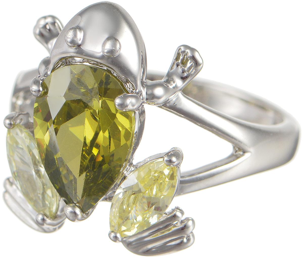 Кольцо женское Taya, цвет: серебристый, зеленый. T-B-4823Коктейльное кольцоОригинальное кольцо Taya выполнено из бижутерного сплава оформлено в виде лягушки и дополнено цирконами. Такое кольцо это блестящее завершение вашего неповторимого и смелого образа и отличный подарок для ценительницы необычных украшений!