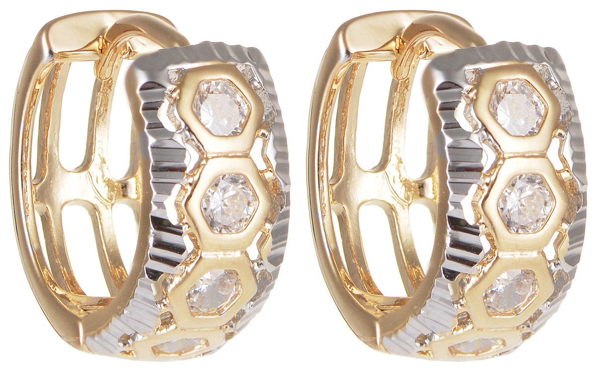 Серьги Taya, цвет: золотистый, серебристый. T-B-11659Серьги с подвескамиМодные позолоченные серьги Taya изготовлены из бижутерного сплава иоформлены цирконами. Застегивается изделие с помощью замка-конго.Оригинальные серьги внесут изюминку, как в повседневный, так и в выходной образ и позволят выделиться среди окружающих.