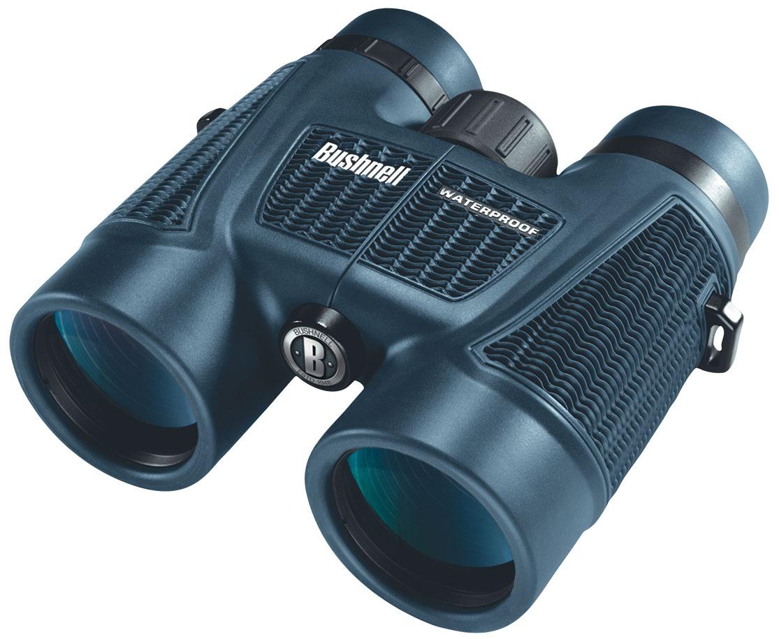 Бинокль Bushnell H2O Roof 8x42, цвет: синий158042Бинокли Bushnell H2O – незаменимый спутник, который не боится воды. Бинокль Bushnell 8х42 H2O ROOF соединяет в себе мощную светосилу со 100% водонепроницаемостью. Нескользящее покрытие корпуса Soft Texture Grip позволяет удерживать бинокль в руках. В биноклях H20 используются уплотнительные герметизирующие кольца и азотное заполнение, поэтому они всегда дают превосходное изображение, сколь бы мокрыми они не стали.