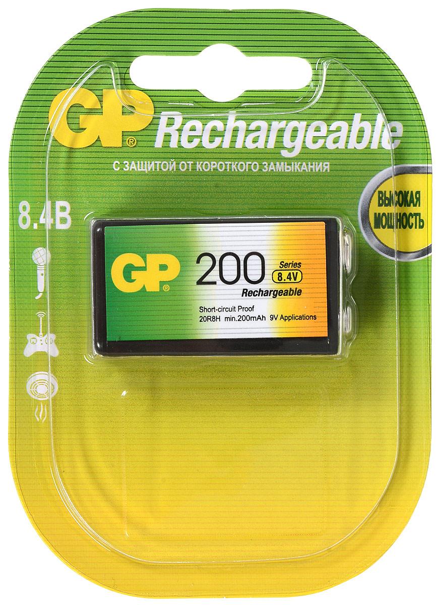 Аккумулятор GP Batteries, тип Крона, 8,4V, 200 mAh2849Перезаряжаемый аккумулятор GP Batteries используются повсюду и применимы в широком спектре устройств. Он сохраняет энергию длительное время и может быть перезаряжен до 500 раз. Батарейка обладает энергоемкостью выше, чем у алкалиновых элементов питания. Защищена от коротких замыканий. Изделие производится по новой, более совершенной технологии LSD, которая гарантирует аккумулятору низкий саморазряд - позволяет сохранять минимум 30% заряда в течение 2 лет хранения.