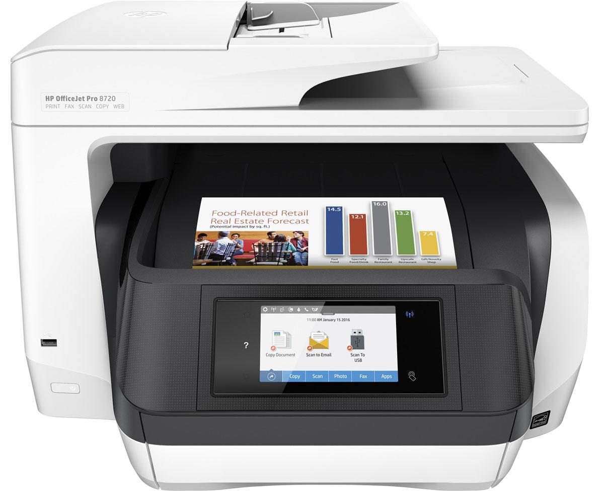 HP Officejet Pro 8720 МФУ (D9L19A)D9L19AМФУ HP Officejet Pro 8720 отвечает всем требованиям современных офисов. Контролируйте расходы благодаря доступной цветной печати профессионального качества. Экономьте бумагу и поддерживайте производительность на стабильно высоком уровне благодаря быстрой двусторонней печати и функциям, предназначенным специально для больших объемов офисных задач.Превосходный уровень профессиональной офисной цветной печатиЭкономьте на цветной печати профессионального качества благодаря практически вдвое меньшей стоимости одной страницы по сравнению с лазерными принтерами. Дополнительные оригинальные картриджи HP увеличенной емкости позволяют в три раза увеличить объем печати.Оцените профессиональное качество цветной и черно-белой печати отчетов, писем и многого другого. Выполняйте печать документов, устойчивых к воздействию влаги, смазыванию, выцветанию и выделению маркером.Инновационная конструкция обеспечивает непревзойденную производительность рабочих групп. Невероятно быстрая двусторонняя печать позволяет выполнять любое задание в кратчайшие сроки. Оцените быструю обработку многостраничных документов благодаря функции двустороннего сканирования и устройству автоматической подачи документов на 50 листов.Революционная конструкция обеспечивает обработку бумаги на уровне лазерных технологий и чрезвычайно высокую скорость печати. Печатайте больше без постоянной дозагрузки бумаги. Увеличьте объем печати до 500 страниц, добавив дополнительный лоток на 250 листов.Технология NFC позволяет передавать на принтер документы с мобильных устройств без подключения к корпоративной сети. Выполняйте печать непосредственно с мобильного устройства из любого места в офисе.Благодаря возможностям беспроводной связи вы легко можете печатать документы, фотографии и многое другое практически с любого смартфона или планшета.Для защиты информации и контроля доступа к конфиденциальным заданиям печати используйте HP JetAdvantage Private Print.Управляйте заданиями печати 