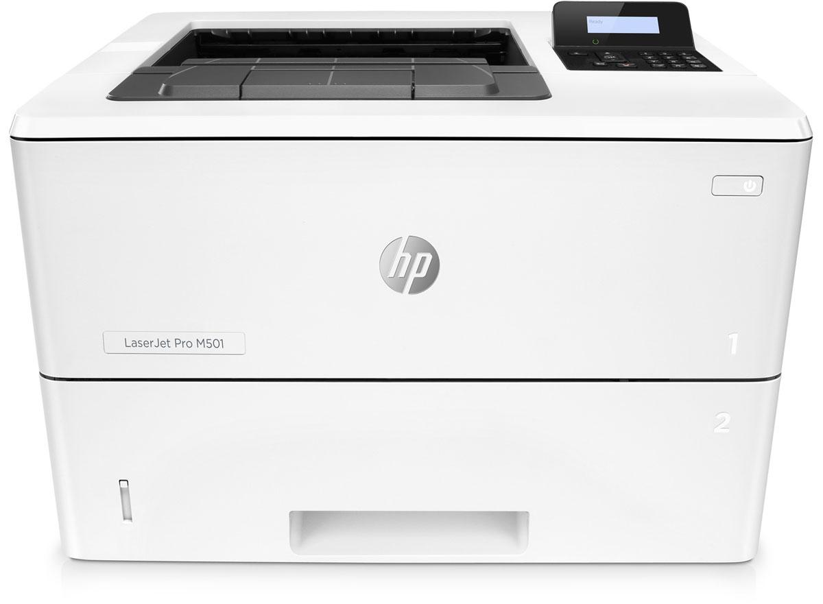 HP LaserJet Pro M501dn принтер лазерный (J8H61A)J8H61AЭнергосберегающий принтер HP LaserJet Pro M501dn обеспечивает быстрый запуск печати и поддержку функции безопасности для защиты от угроз.Печать больших объемов, малые габаритыЗабудьте о долгом ожидании. На выход из энергосберегающего режима сна и печать первой страницы принтеру требуется всего 7,2 секунды. Благодаря инновационной конструкции и технологии использования тонера этот принтер является лидером по экономии электроэнергии в своем классе. Печатайте документы неизменно высокого качества на различных носителях со скоростью до 65 страниц формата A5 в минуту. Этот компактный принтер работает в тихом режиме и не займет много места.Оцените надежную защиту и удобство управления парком устройствБудьте уверены в надежной работе устройства с момента его запуска и до окончания работы. Благодаря встроенным функциям защиты можно не беспокоиться даже о серьезных угрозах. А дополнительный разъем с функцией защиты по PIN-коду будет гарантией того, что конфиденциальные данные останутся в безопасности. Дополнительное ПО HP JetAdvantage Security Manager — это основанная на политиках защита устройств печати. Управляйте устройствами и их настройками с помощью HP Web Jetadmin, удобного инструмента, который включает в себя все необходимые функции.Больше страниц. Выше производительность. Лучше защитаЧерный тонер обеспечивает высокую контрастность черно-белых текстов, шрифтов и графических изображений. Стремитесь к большему. Оригинальные лазерные картриджи HP с технологией JetIntelligence обладают большим ресурсом по сравнению с предыдущими моделями картриджей. Встроенные технологии распознавания и защиты картриджей помогут подтвердить подлинность материалов HP. Устройство поставляется уже готовым к работе и содержит предварительно установленный лазерный картридж. При необходимости его можно заменить на специальный картридж увеличенной емкости.Процессор: 1,5 ГГцОбъем памяти: 256 МБ