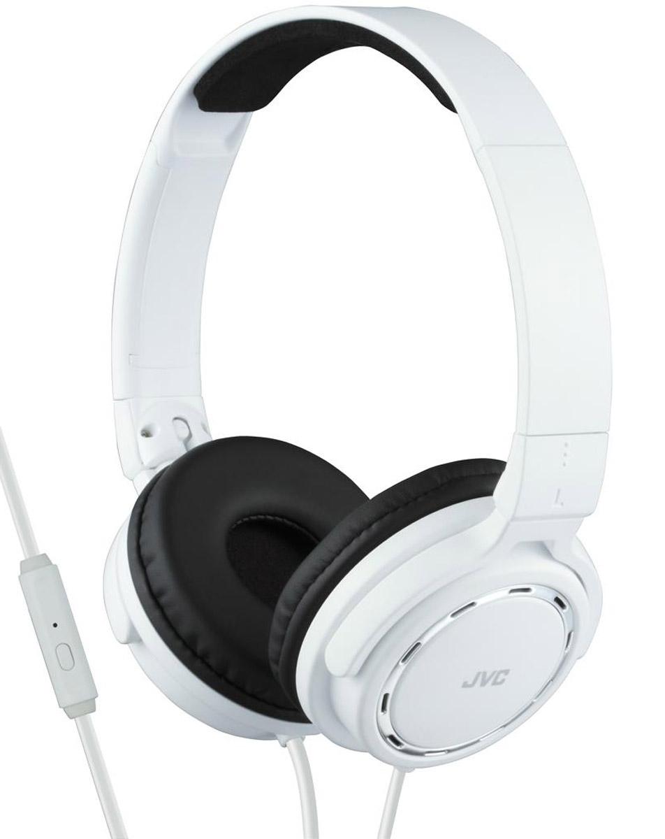 JVC HA-SR525-W, White наушникиHA-SR525-WПортативные накладные наушники JVC HA-SR525-B со звуком премиум класса, имеют проводной пульт с микрофоном, совместимый с iPhone/iPod/iPad/Android BlackBerry. Наушники с кольцевыми портами, динамической головкой с 36 мм диафрагмой и неодимовыми магнитами обеспечивают превосходное качество звука. Удобные и мягкие амбушюры сделаны для качественной звуко-изоляции. Легкий вес наушников обеспечивает комфорт во время прослушивания. Наушники имеют 1,2 м шнур с жилами из меди с позолоченным, тонким штекером L-типа.