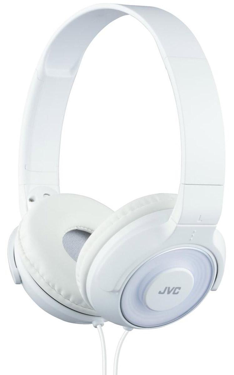 JVC HA-S220-W, White наушникиHA-S220-WПортативные накладные наушники JVC HA-S220-W с уникальным дизайном имеют превосходное качество звука благодаря фазоинверторным портам и высококачественной 30 мм динамической головкой с ниодимовыми магнитами. Удобные и мягкие амбушюры сделаны для максимального комфорта и качественной звуко-изоляции. Прочный кабель длиной 1,2 метра оснащен позолоченным тонким штекером L-типа, также совместимым с iPhone.