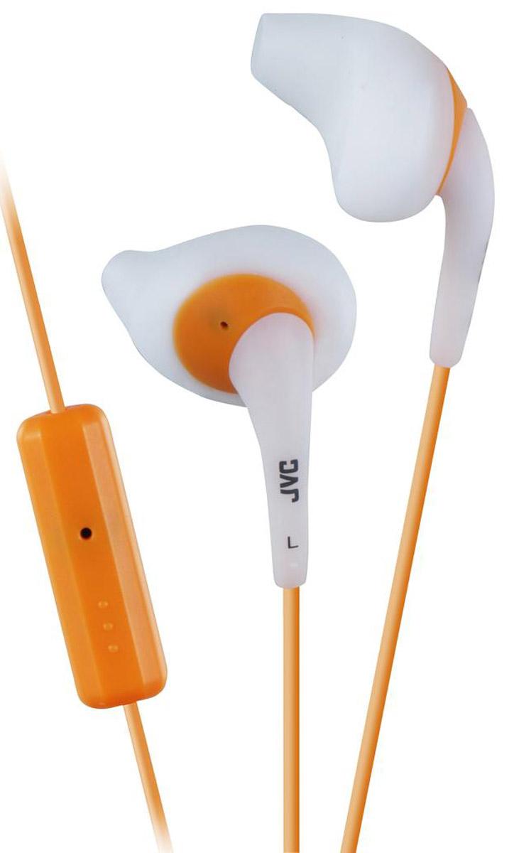 JVC HA-ENR15-W, White наушникиHA-ENR15-WЯркие, внутриканальные наушники JVC HA-ENR15-W с силиконовыми насадками специальной формы для защиты от пота, идеально подходят для занятий спортом, имеют 1-кнопочный ПДУ и микрофон для iPhone / iPod / iPad / Android / BlackBerry (не влагозащищенный). Надежное и удобное крепление с ушным вкладышем. Цветной шнур длиной 1 м оснащен позолоченным штекером, также совместимым с iPhone.