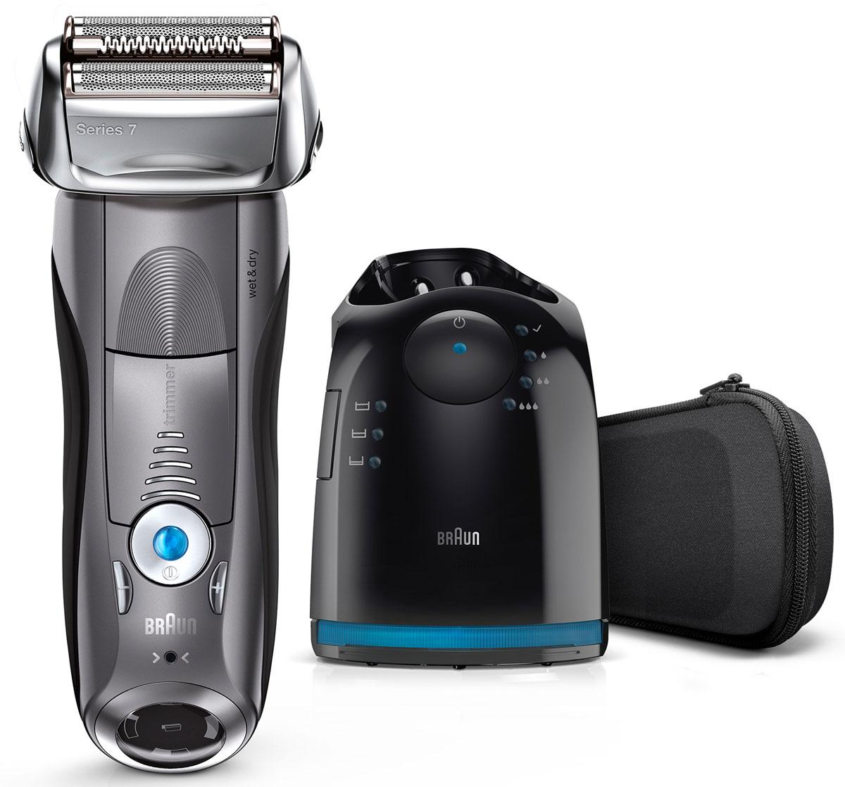 Braun Series 7 7865cc Wet&Dry, Grey электробритва81576297Braun Series 7 7865cc Wet&Dry - умная бритва, которая считывает ваше лицо и адаптирует свою мощность к густоте щетины. 4 специальных бреющих элемента захватывают больше волосков одним движением, обеспечивая гладкое и комфортное бритье без компромиссов. Преимущества:5 режимов бритья, от чувствительного до турбо, позволяют подобрать оптимальный для вашего типа кожи и предпочтенийБреющие элементы позволяют уменьшить количество движений и раздражение кожи.В комплект входит четырехэтапная станция очистки и подзарядки Clean&Charge, которая после одного нажатия кнопки тщательно очищает и смазывает бритву, обновляя ее.