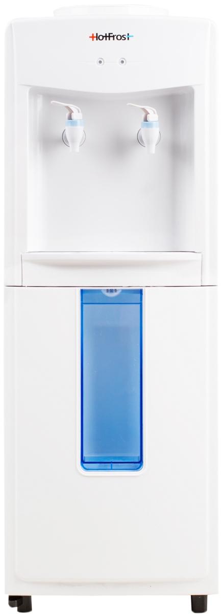HotFrost V118R, White диспенсер для водыV118RHotFrost V118R - это идеальная находка для человека, который находится в поисках бюджетного и в то же время качественного оборудования для раздачи бутилированной воды. Данный аппарат сэкономит ваши финансы и сделает потребление чистой питьевой воды на порядок удобнее.Так как раздатчик не имеет ни единого узла конструкции, работающего от электросети, то его можно установить практически везде, где возникла необходимость обеспечить человека чистой водой. Кроме того, что это могут быть традиционные общественные места (поликлиники, торговые центры, спортивные залы и т.д.), раздатчик можно установить на выездных мероприятиях.Отсутствие нагрева и охлаждения воды превращается в преимущество данной модели, когда речь заходит о необходимости установки оборудования в детских садах или школах. Можно не беспокоиться о последствиях употребления чрезмерно холодной воды или случайных ожогах горячей водой.Приятным бонусом модели HotFrost V118R является наличие встроенного хранилища для стаканчиков, работающего по принципу откидного шкафчика.Съемный лоток для сбора капель