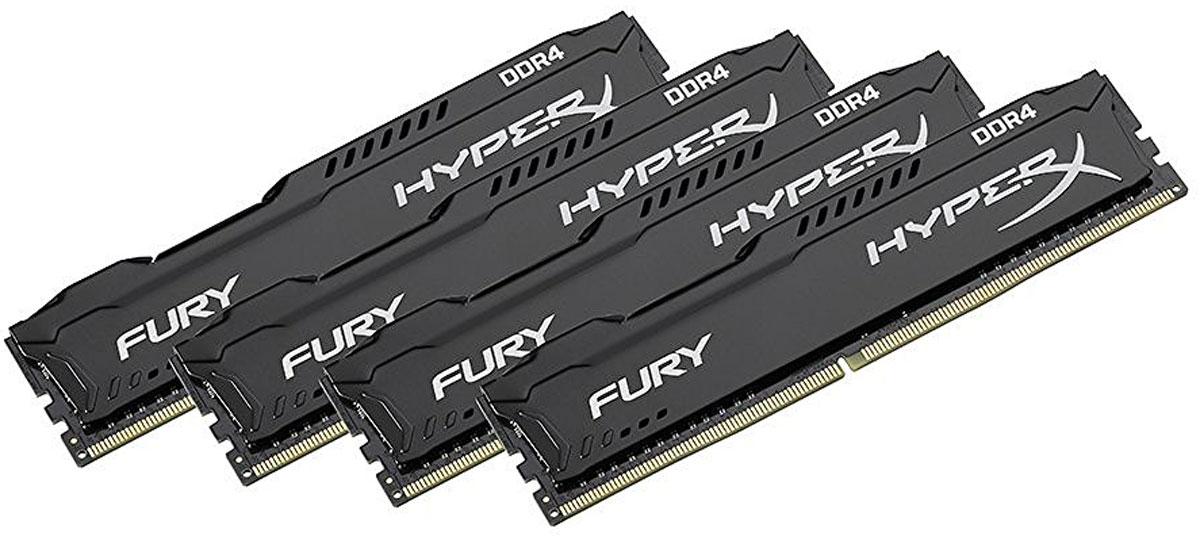 Kingston HyperX Fury DDR4 DIMM 16GB (4х4GB) 2400МГц комплект модулей оперативной памяти (HX424C15FBK4/16)HX424C15FBK4/16Модули памяти HyperX FURY DDR4 автоматически разгоняются до максимальной заявленной частоты и обеспечивают максимальную производительность для системных плат с чипсетами Intel серии 100 и X99. Это недорогое решение для использования с 2-, 4-, 6- и 8-ядерными процессорами Intel повышает скорость редактирования видео, 3D-рендеринга, компьютерных игр и AI-процессинга. Его стильный низкопрофильный теплоотвод с характерным дизайном FURY сразу подчеркнет оригинальный внешний вид вашей системы.HyperX FURY DDR4 - это первая линейка продукции, предлагающая автоматический разгон до максимальной заявленной частоты. Получите максимальную скорость без необходимости ручной настройки.Низкое энергопотребление HyperX FURY DDR4 обеспечивает пониженное выделение тепла и высокую надежность. Благодаря низкому напряжению (1,2 В), снижается потребление энергии, что обеспечивает отсутствие нагрева и бесшумную работу ПК.Выделитесь из толпы и придайте своей системе стиль, добавив в нее культовый асимметричный теплоотвод FURY. Модуль памяти FURY DDR4, предлагаемый в черном цвете с черной печатной платой, дополняет системную плату с чипсетами Intel серии 100 и X99.Параметры XMP:JEDEC/PnP: DDR4-2400 CL15-15-15 @1.2V; DDR4-2133 CL14-14-14 @1.2VXMP Profile #1: DDR4-2400 CL15-15-15 @1.2V