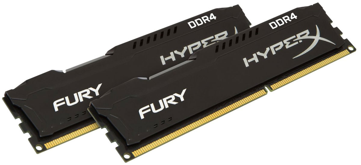 Kingston HyperX Fury DDR4 DIMM 16GB (2х8GB) 2133МГц комплект модулей оперативной памяти (HX421C14FB2K2/16)HX421C14FB2K2/16Модули памяти HyperX FURY DDR4 автоматически разгоняются до максимальной заявленной частоты и обеспечивают максимальную производительность для системных плат с чипсетами Intel серии 100 и X99. Это недорогое решение для использования с 2-, 4-, 6- и 8-ядерными процессорами Intel повышает скорость редактирования видео, 3D-рендеринга, компьютерных игр и AI-процессинга. Его стильный низкопрофильный теплоотвод с характерным дизайном FURY сразу подчеркнет оригинальный внешний вид вашей системы.HyperX FURY DDR4 - это первая линейка продукции, предлагающая автоматический разгон до максимальной заявленной частоты. Получите максимальную скорость без необходимости ручной настройки.Низкое энергопотребление HyperX FURY DDR4 обеспечивает пониженное выделение тепла и высокую надежность. Благодаря низкому напряжению (1,2 В), снижается потребление энергии, что обеспечивает отсутствие нагрева и бесшумную работу ПК.Выделитесь из толпы и придайте своей системе стиль, добавив в нее культовый асимметричный теплоотвод FURY. Модуль памяти FURY DDR4, предлагаемый в черном цвете с черной печатной платой, дополняет системную плату с чипсетами Intel серии 100 и X99.Параметры XMP:JEDEC/PnP: DDR4-2133 CL14-14-14 @1.2VXMP Profile #1: DDR4-2133 CL14-14-14 @1.2V