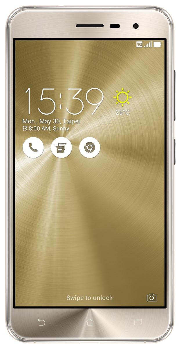 ASUS ZenFone 3 ZE520KL, Shimmer Gold (90AZ0173-M00600)90AZ0173-M00600ZenFone 3 – это современный смартфон с оригинальным дизайном и высококачественной камерой, который станет вашу жизнь чуть более необычной.Современный смартфон, отделанный с обеих сторон защитным стеклом безупречно выверенной формы. Тонкий корпус, который идеально ложится в ладонь. Оригинальный узор из концентрических окружностей, украшающий заднюю панель и выгравированный на кнопках, как отражение философской гармонии Дзен. Вы хотите получить совершенно новые впечатления от своего нового смартфона? Просто взгляните и прикоснитесь к ZenFone 3.ZenFone 3 — это синоним тонкой работы. Заключенный в корпус из высокопрочного стекла Corning Gorilla Glass со скругленными кромками, данный смартфон имеет толщину всего 7,69 мм. Красоту его изысканного дизайна подчеркивают акценты на боковых гранях, выполненные методом алмазной резки. Это шедевр современного инженерного искусства, которым вы никогда не устанете наслаждаться.ZenFone 3 оснащается превосходным дисплеем с диагональю 5,2, разрешением Full-HD (1920х1080 пикселей), увеличенной до 600 кд/м2 яркостью и широкими углами обзора, что обеспечивает качественное изображение даже в условиях сильного солнечного освещения. Причем благодаря сверхтонкой рамке (2,1 мм) и большой площади (более 77% от размера передней панели) экран ничуть не влияет на компактность смартфона.Технология PixelMaster 3.0 выводит фотовозможности устройств серии ZenFone 3 далеко за рамки доступного обычным смартфонам. Чтобы запечатлеть уникальную красоту окружающего мира в ее неповторимом великолепии, ZenFone 3 оснащается 16-мегапиксельным сенсором, светосильным объективом f/2.0 и системой тройной следящей автофокусировки TriTech с быстродействием от 0,03 с. Если добавить к этому высокоэффективную систему оптической и электронной стабилизации изображения, а также датчик цветокоррекции, то можно не сомневаться: четкие снимки и видеоролики с естественными, насыщенными цветами можно получить 