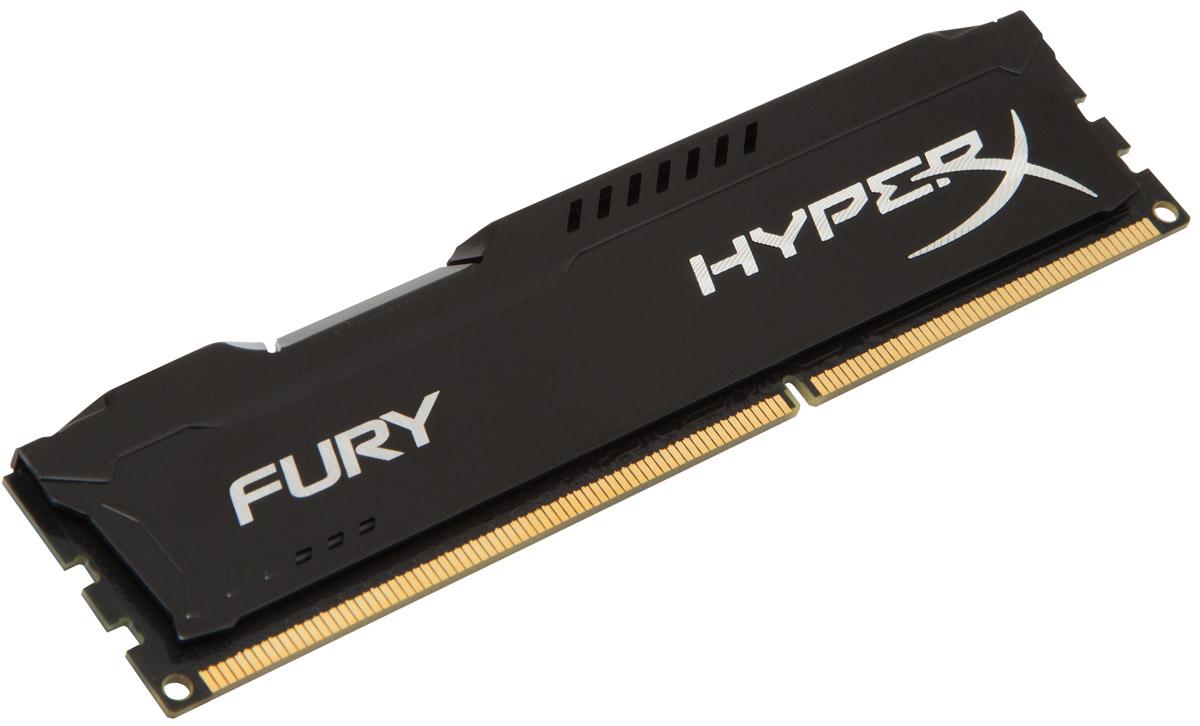 Kingston HyperX Fury DDR3 4GB 1600 МГц, Black модуль оперативной памяти (HX316C10FB/4)HX316C10FB/4Модуль памяти Kingston HyperX FURY DDR3 автоматически разгоняется до максимальной заявленной частоты, а простота иавтоматическая конфигурируемость позволяют быстрее включаться в игру и мгновенно выходить на высочайшие скорости, необходимые для победы. Благодаря низкому напряжению (от 1,35 В) потребляется меньше энергии и выделяется меньше тепла, при этом поддерживаются новые чипсеты Intel 100 Series. Ассиметричный и агрессивный дизайн модуля, а также высококачественный алюминий и граненая отделка позволят вам выделиться среди стандартных квадратных конструкций.