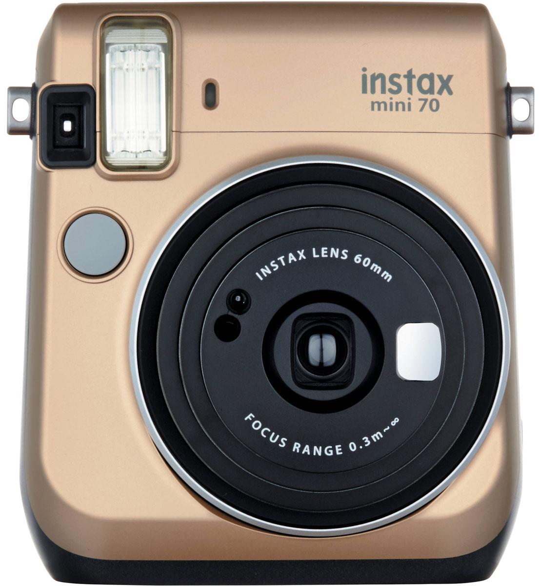 Fujifilm Instax Mini 70, Gold фотокамера мгновенной печати16513891С камерой Fujifilm Instax Mini 70 вы превратите серые будни в особенные дни, наполненные улыбками. Чтобы проводить время весело, всегда и везде берите с собой этот стильный фотоаппарат.Главной особенностью камеры является функция автоматического контроля экспозиции, которая позволяет запечатлеть, как объект съемки, так и фон в их естественной освещенности. Помимо этого Instax Mini 70 может похвастаться отдельным режимом съемки для создания cелфи.Использование режима selfie обеспечивает оптимальную яркость и расстояние для съемки автопортретов. Вы также можете проверить кадрирование в специальном зеркальце рядом с объективом.Высокопроизводительная вспышка автоматически определяет яркость окружающего освещения и устанавливает оптимальную выдержку - специальные настройки не требуются!С помощью функции Hi-Key можно запечатлеть яркие, красивые тона кожи. Также имеются режимы для съемки макро и пейзажей. Для максимального удобства также предусмотрена заполняющая вспышка и стандартное штативное гнездо.Используемая фотопленка: Fujifilm Instax MiniРазмер фотографии: 62 х 46 ммУправление экспозицией: автоматическоеКоррекция экспозиции: ±2/3 EVПитание: CR2/DL CR2 х 2Ресурс батарей: 30 упаковок фотобумаги (по результатам исследований Fujifilm)