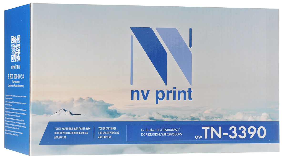 NV Print TN3390, Black тонер-картридж для Brother HL6180DW/DCP8250DN/MFC8950DWNV-TN3390Совместимый лазерный картридж NV Print TN3390 для печатающих устройств Brother - это альтернатива приобретению оригинальных расходных материалов. При этом качество печати остается высоким. Картридж обеспечивает повышенную чёткость чёрного текста и плавность переходов оттенков серого цвета и полутонов, позволяет отображать мельчайшие детали изображения.Лазерные принтеры, копировальные аппараты и МФУ являются более выгодными в печати, чем струйные устройства, так как лазерных картриджей хватает на значительно большее количество отпечатков, чем обычных. Для печати в данном случае используются не чернила, а тонер.