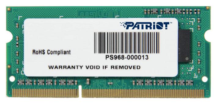 Patriot DDR3 SO-DIMM 4GB 1600МГц модуль оперативной памяти (PSD34G160081S)PSD34G160081SНебуферезированная память Patriot DDR3 SO-DIMM PSD34G160081S предоставляет качество работы, надежность и производительность, требуемую для современных ноутбуков сегодня. Этот модуль емкостью 4 ГБ, спроектирован для работы на частоте 1600 МГц PC3-12800 при таймингах CAS 11. Модуль собран при использовании специальных компонентов.