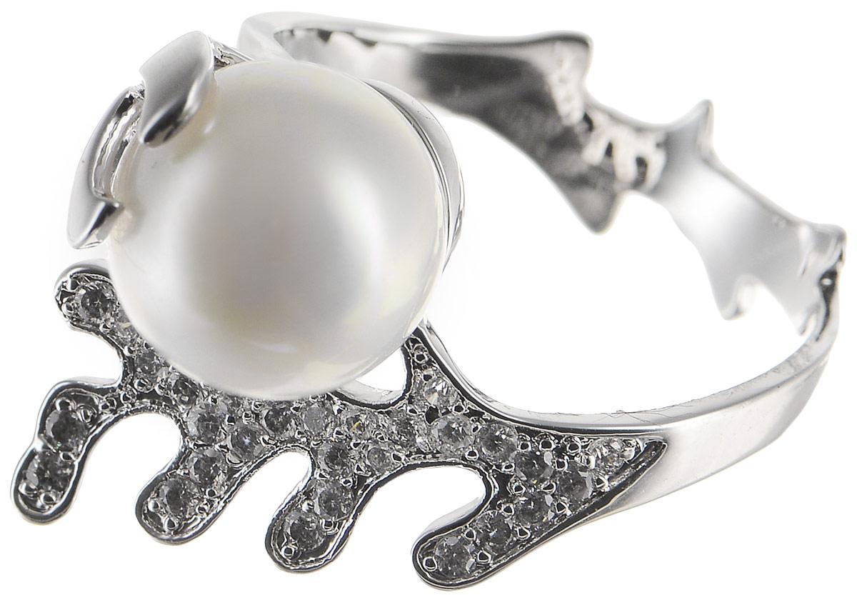 Кольцо Polina Selezneva, цвет: серебристый, белый. DG-0091. Размер 18Коктейльное кольцоСтильное кольцо Polina Selezneva изготовлено из качественного металлического сплава. Декоративная часть выполнена в оригинальной форме и оформлена искусственным жемчугом и стразами.