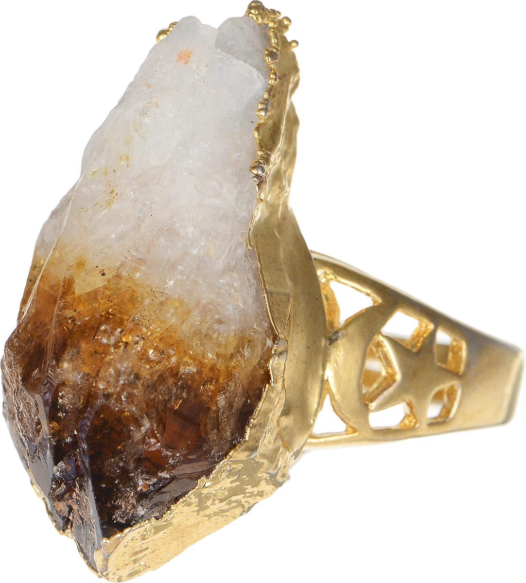 Кольцо Polina Selezneva, цвет: золотистый, коричневый, белый. DG-0049Коктейльное кольцоСтильное кольцо Polina Selezneva изготовлено из качественного металлического сплава. Кольцо оформлено оригинальным камнем и резным узором.