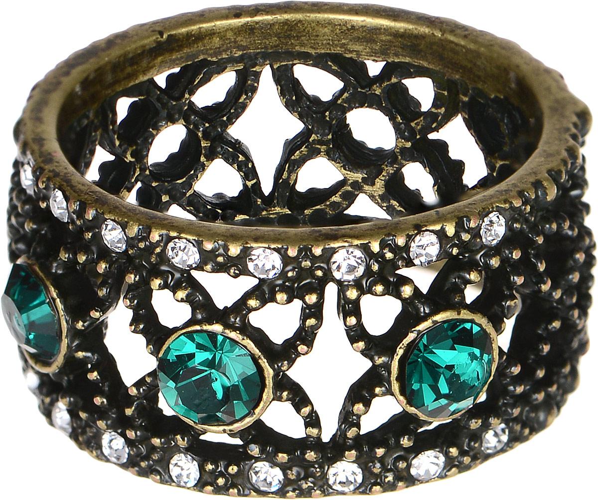 Кольцо Polina Selezneva, цвет: золотистый, зеленый. DG-0022. Размер 17Коктейльное кольцоОригинальное кольцо Polina Selezneva выполнено из латуни и дополнено стразами и цирконами. Такое кольцо это блестящее завершение вашего неповторимого, смелого образа и отличный подарок для ценительницы необычных украшений!