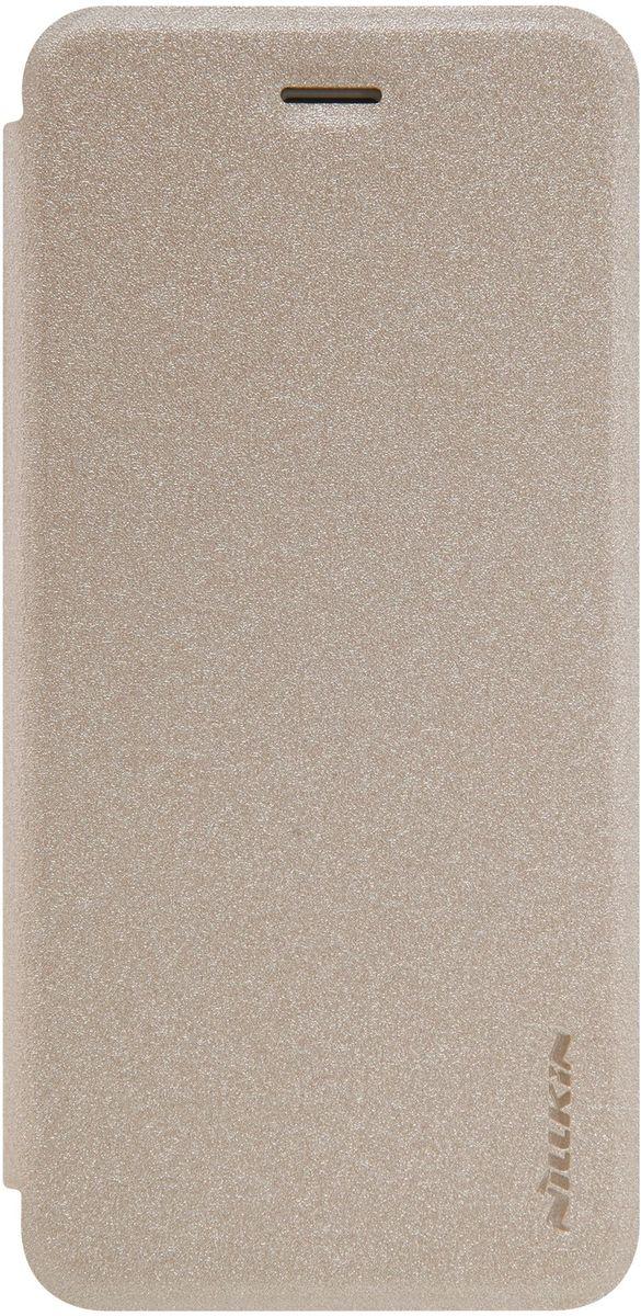 Nillkin Sparkle Leather Case чехол для Apple iPhone 7 Plus, Gold2000000123691Чехол Nillkin Sparkle Leather Case для Apple iPhone 7 Plus выполнен из высококачественного поликарбоната и экокожи. Он надежно фиксирует и защищает смартфон при падении. Обеспечивает свободный доступ ко всем разъемам и элементам управления.
