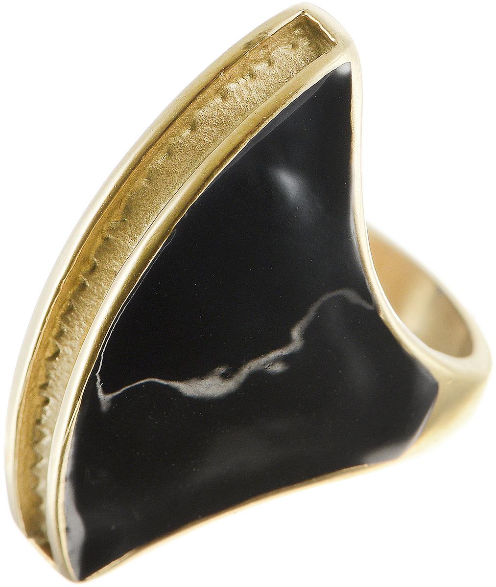 Кольцо Polina Selezneva, цвет: золотистый, черный. DG-0025. Размер 18Коктейльное кольцоСтильное кольцо Polina Selezneva изготовлено из латуни и выполнено в оригинальном дизайне. Декоративная часть оформлена вставкой из эмали.