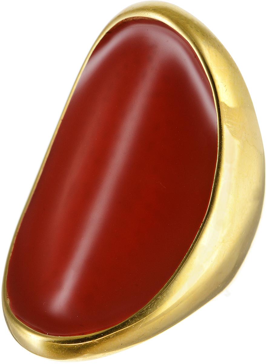 Кольцо Polina Selezneva, цвет: золотистый, красный. DG-0009. Размер 17Колье (короткие одноярусные бусы)Оригинальное кольцо Polina Selezneva выполнено из металлического сплава. Изделие вогнутой формы, дополнено вставкой из эмали. Такое кольцо это блестящее завершение вашего неповторимого, смелого образа и отличный подарок для ценительницы необычных украшений!