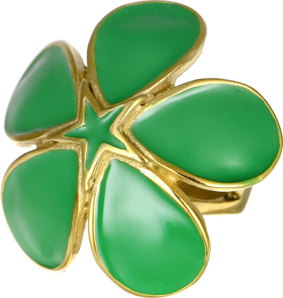 Кольцо Polina Selezneva, цвет: золотистый, зеленый. DG-0004. Размер 17Коктейльное кольцоСтильное кольцо Polina Selezneva изготовлено из качественного металлического сплава. Декоративная часть выполнена в виде цветка с покрытием из эмали.