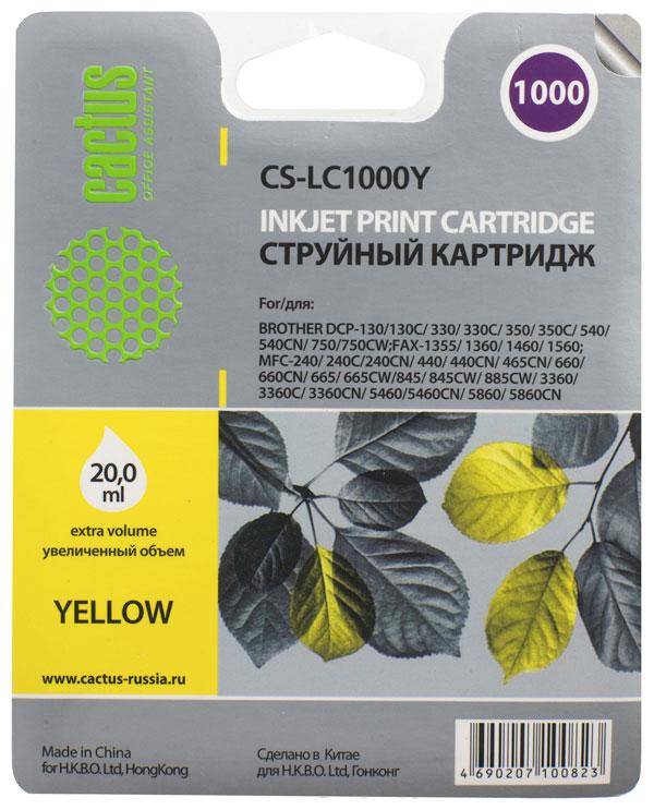 Cactus CS-LC1000Y, Yellow картридж струйный для Brother DCP 130C/330С/MFC-240C/5460CNCS-LC1000YКартридж Cactus CS-LC1000Y для струйных принтеров Brother DCP 130C/330С/MFC-240C/5460CN.Расходные материалы Cactus для струйной печати максимизируют характеристики принтера. Обеспечивают повышенную четкость цветов и плавность переходов оттенков и полутонов, позволяют отображать мельчайшие детали изображения. Обеспечивают надежное качество печати.