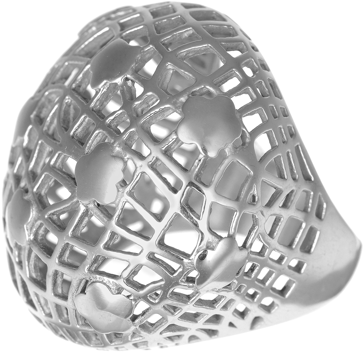 Кольцо Polina Selezneva, цвет: серебристый. DG-0001. Размер 19Коктейльное кольцоСтильное кольцо Polina Selezneva изготовлено из качественного металлического сплава и выполнено в оригинальном дизайне. Массивное кольцо оформлено резным узором.