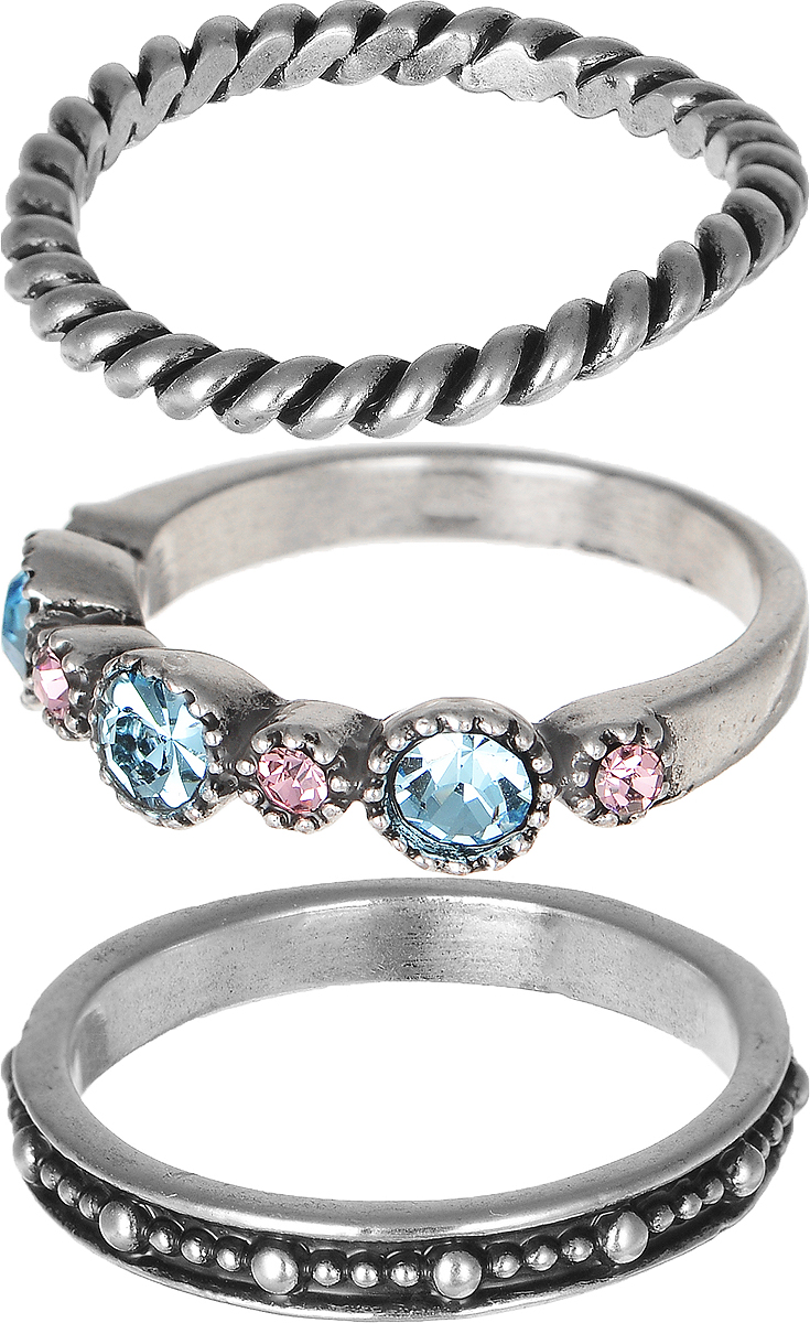 Кольцо Polina Selezneva, цвет: серебряный, голубой, розовый. DG-0027Коктейльное кольцоСтильное кольцо Polina Selezneva изготовлено из качественного металлического сплава. Кольцо состоит из трех элементов и оформлено искусственными камнями, стразами и вырезными узорами.