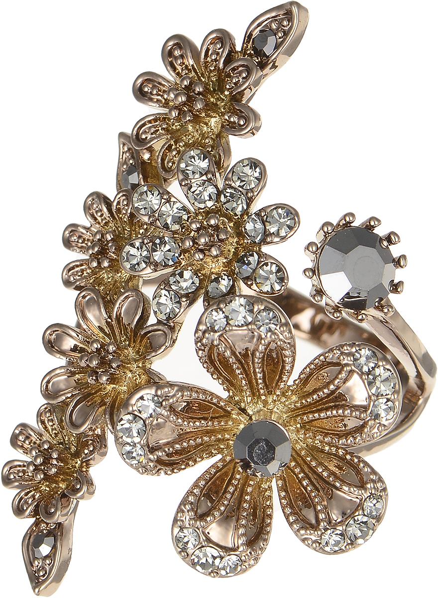 Кольцо Polina Selezneva, цвет: коричневый. DG-0085. Размер 18Коктейльное кольцоОригинальное кольцо Polina Selezneva выполнено из бижутерийного сплава и оформлено веточкой цветов. Дополнено изделие стразами и цирконами.Такое кольцо это блестящее завершение вашего неповторимого, смелого образа и отличный подарок для ценительницы необычных украшений!