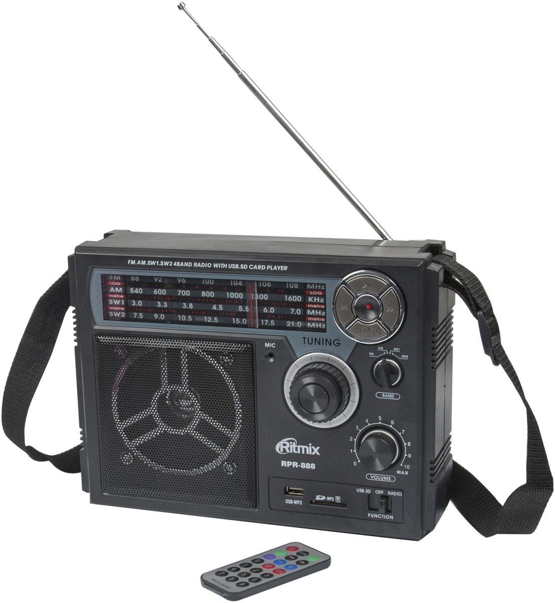 Ritmix RPR-888, Black радиоприемникRPR-888Ritmix RPR-888 – полноразмерный четырехдиапазонный радиоприёмник с функцией mp3-плеера и диктофона. Устройство может работать как от сети, так и автономно – от встроенного аккумулятора или батареек.