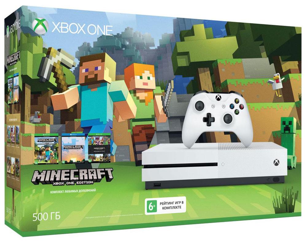 Игровая приставка Xbox One S 500 ГБ + MinecraftZQ9-00048Игровая приставка Xbox One S - единственная консоль с 4K-плеером Blu-Ray, потоковым видео с разрешением 4K и функцией расширенного динамического диапазона (HDR).Играйте в лучшую линейку игр, включая классические игры с Xbox 360, на консоли, которая компактнее на 40%. Не обманывайтесь ее размером, благодаря встроенному блоку питания и жесткому диску емкостью до 1 ТБ консоль Xbox One S — самая продвинутая из всех Xbox на сегодняшний день!Наслаждайтесь более насыщенными и яркими цветами в таких играх, как Gears of War 4 и Forza Horizon 3. Технология расширенного динамического диапазона повышает контраст между светлыми и темными участками изображения, представляя игры во всем их великолепии!Разрешение 4K Ultra HD в четыре раза превышает стандартное разрешение HD, обеспечивая максимально четкое и реалистичное отображение. Смотрите потоковое видео в формате 4k из Netflix и Amazon Video, а также фильмы на дисках Ultra HD Blu-ray, с восхитительным качеством изображения благодаря расширенному динамическому диапазону.Настройте Xbox One S на включение других устройств, например телевизора, ресивера и кабельной или спутниковой приставки. Во время игр и просмотра фильмов встроенный ИК-передатчик позволит делать всё быстрее и забыть о пультах ДУ.Беспроводной геймпад Xbox One обеспечивает беспрецедентный комфорт и отличается более изящной и оптимизированной конструкцией. Дальность действия увеличилась почти в два раза! Текстурная поверхность позволяет лучше прицеливаться. А благодаря интерфейсу Bluetooth играть с этим геймпадом в любимые игры можно на ПК, планшетах и смартфонах с Windows 10.Консоль Xbox One S можно установить вертикально благодаря специальной подставке (продается отдельно).В состав этого специального комплекта входит игра Minecraft вместе с 7 популярными наборами загружаемого контента. Изменяйте облик своего мира, занимаясь строительством, творчеством или исследованиями в одиночку или вместе с друзьями. Созда
