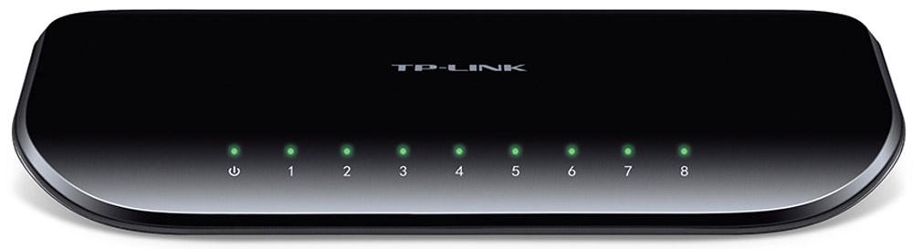 TP-Link TL-SG1008D коммутаторTL-SG1008D8-портовый гигабитный настольный коммутатор TP-Link TL-SG1008D представляет собой простое решение для перехода на гигабитный Ethernet. Все 8 портов поддерживают функцию авто-MDI/MDIX, больше не нужно думать о типе кабеля, просто воткните кабель в устройство и оно будет с ним работать. Более того, применение инновационной энергосберегающей технологии позволит сберечь до 80% потребляемой электроэнергии, поэтому TL-SG1008D представляет собой экологически безопасное устройство для вашей офисной сети.Гигабитный коммутаторМодель TL-SG1008D оснащена 8 портами 10/100/1000 Мбит/с, что значительным образом увеличивает пропускную способность вашей сети, позволяя передавать файлы большого размера в кратчайшее время. Поэтому пользователи дома, в офисе, в рабочей группе или дизайн-студии теперь могут быстрее передавать большие, чувствительные к пропускной способности канала файлы. Мгновенная передача по сети графики, CGI-, CAD- и мультимедиа-файлов.Прояви заботу об окружающей средеТеперь, при переходе на гигабитную сеть, вы можете проявить заботу об окружающей среде! Новый гигабитный коммутатор TL-SG1008D поддерживает последние энергосберегающие технологии, с помощью которых вы сможете увеличить пропускную способность вашей сети со значительно меньшими энергозатратами. Устройство автоматически выбирает режим питания в зависимости от статуса соединения и длины кабеля для того, чтобы сберечь электроэнергию и тем самым ограничить количество выбросов углерода, совершаемых при ее выработке.Отключение неработающих портовПри выключении компьютера или сетевого оборудования, соответствующий порт обыкновенного коммутатора продолжает потреблять значительное количество электричества. Коммутатор TL-SG1008D может автоматически определять статус соединения на каждом порту и сокращать потребление электроэнергии на неработающих портах.Выбор режима питания в зависимости от длины кабеляКороткий кабель потребляет меньше электричества ввиду меньших потерь при пе