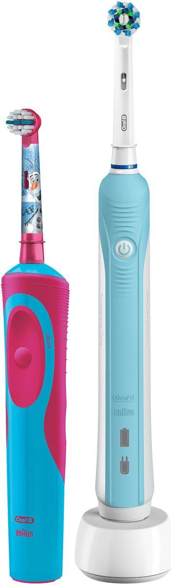 Oral-B Family Pack Pro 500 + Stages Power Frozen набор электрических зубных щеток81603345Набор электрических зубных щеток Family Pack (Oral-B Pro 500 и Oral-B Stages Power Frozen).Аккумуляторная зубная щетка Oral-B Pro 500 - одна из самых популярных в модельном ряду щеток Oral-B. Модель имеет отличное соотношение цены и качества, благодаря чему завоевала любовь покупателей. В комплект со щёткой входит новая насадка CrossAction. Благодаря эксклюзивной форме насадки, у которой щетинки расположены под углом 16 градусов друг к другу, происходит эффективная очистка налета с поверхности зубов и линии десны. Перекрестные щетинки разрыхляют, поднимают налет и выметают его из труднодоступных мест, а возвратно-вращательные движения и круглая форма насадки позволяют проникать даже в узкие межзубные промежутки, удаляя оттуда налет и остатки пищи.Oral-B Pro 500 проста в использовании - работает только в одном режиме чистки. В щетку встроен двухминутный таймер, позволяющий соблюдать рекомендуемое стоматологами для чистки время.Электрическая зубная щетка Oral-B Stages Power Kids с веселыми героями мультфильма Холодное сердце прекрасно чистит зубы и удобно ложится в маленькие ручки ребенка. Эта аккумуляторная электрическая зубная щетка с экстрамягкими щетинками специально разработана для детей и совместима с приложением Disney MagicTimer от Oral-B.Скачайте приложение, чтобы помочь вашим детям чистить зубы рекомендуемые стоматологом 2 минуты и выработать правильные привычки по уходу за полостью рта, которые останутся с ребенком на всю жизнь. Приложение позволяет создать индивидуальный профиль с любимыми героями от Disney, оно имеет визуальный игровой таймер (мотивируя детей чистить зубы рекомендованные две минуты), а также систему вознаграждений за регулярную чистку и бесстрашные походы к врачу.Специальные щетинки меняют свой цвет по мере износа, сигнализируя о необходимости замены насадки. Такая система помогает сохранить максимальную эффективность очистки в любое время.Ёмкости акк