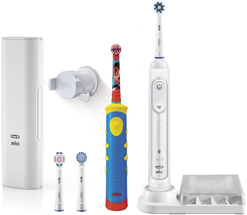 Oral-B Genius 8200 набор электрических зубных щеток81606316Набор электрических зубных щеток Oral-B Genius 8200 включает взрослую электрическую зубную щетку Oral-B D701 с датчиком определения зоны чистки и детскую зубную щетку Oral-B D10K со встроенным музыкальным таймером.Электрические зубные щетки Oral-B чистят зубы именно так, как рекомендуют стоматологи. Они не только удаляют до 100% больше зубного налета, чем мануальные зубные щетки, но и улучшают здоровье десен.Oral-B Genius через Bluetooth синхронизируется с бесплатным приложением Oral-B App для iOS и Android, контролируя в режиме реального времени процесс чистки зубов. Датчик определения зоны чистки взаимодействует с фронтальной камерой смартфона и помогает равномерно очистить всю полость рта. Имеется 5 режимов чистки зубов – Ежедневная чистка, Уход за деснами, Для чувствительных зубов, Отбеливание, Профессиональная чистка.Детские электрические зубные щетки обеспечивают превосходную гигиену полости рта с учетом особенностей детского организма. Благодаря ярким цветам и дизайну с любимыми героями Диснея щётка Oral-B Mickey KIDS (D10K) превращает чистку зубов в веселое занятие! Данная модель имеет более короткие щетинки для особо бережной чистки полости рта ваших детей.Технология возвратно-вращательных движений 2D в режиме чувствительной чистки совершает 5600 движений в минуту. Встроенный музыкальный таймер проигрывает одну из 16 мелодий, мотивируя детей чистить зубы 2 минуты. Экстрамягкие расщеплённые на концах щетинки обеспечивают бережную чистку жевательных поверхностей зубов.Насадка Cross Action: щетинки, расположенные под углом 16°, окружают каждый зуб, бережно удаляя до 100% больше налета даже из труднодоступных мест.Насадка Sensitive с более мягкими щетинками для бережной чистки чувствительных участков полости рта.Насадка 3D White с полирующей чашечкой в центре щеточного поля для восстановления естественной белизны зубов.Насадка Stages Power специально для детей. Ее укороченная экстрамягкая щетина бережно