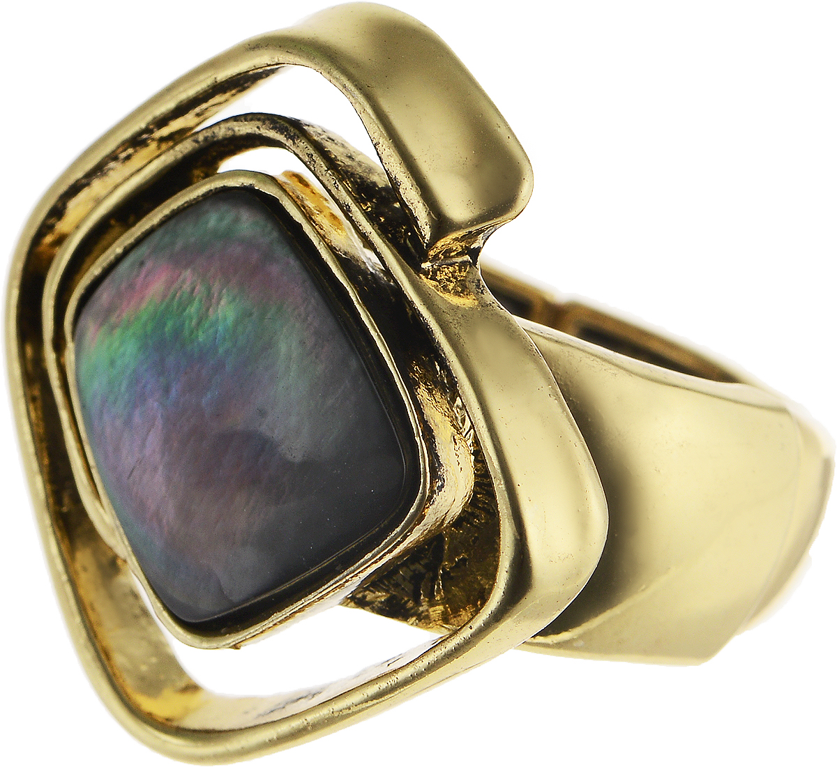 Кольцо Модные истории, цвет: золотистый. 17/0048Коктейльное кольцоСтильное растягивающееся кольцо Модные истории выполнено из бижутерийного сплава с гальваническим покрытием. Изделие имеет закрученную форму с вставкой из натурального перламутра. Оригинальное кольцо придаст вашему образу изюминку, подчеркнет индивидуальность.